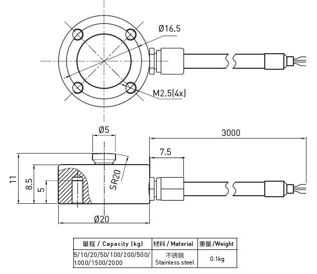 Small Tank Weighing Compression Load Cell Strain Gauge , Button Type