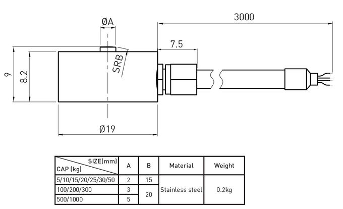 Custom Tension Compression Load Cell Weighing 5kg , High Precision