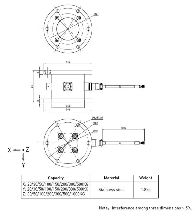 High Capacity Transducer Triaxial Load Cell Sensors , 3 Axis Load Cell